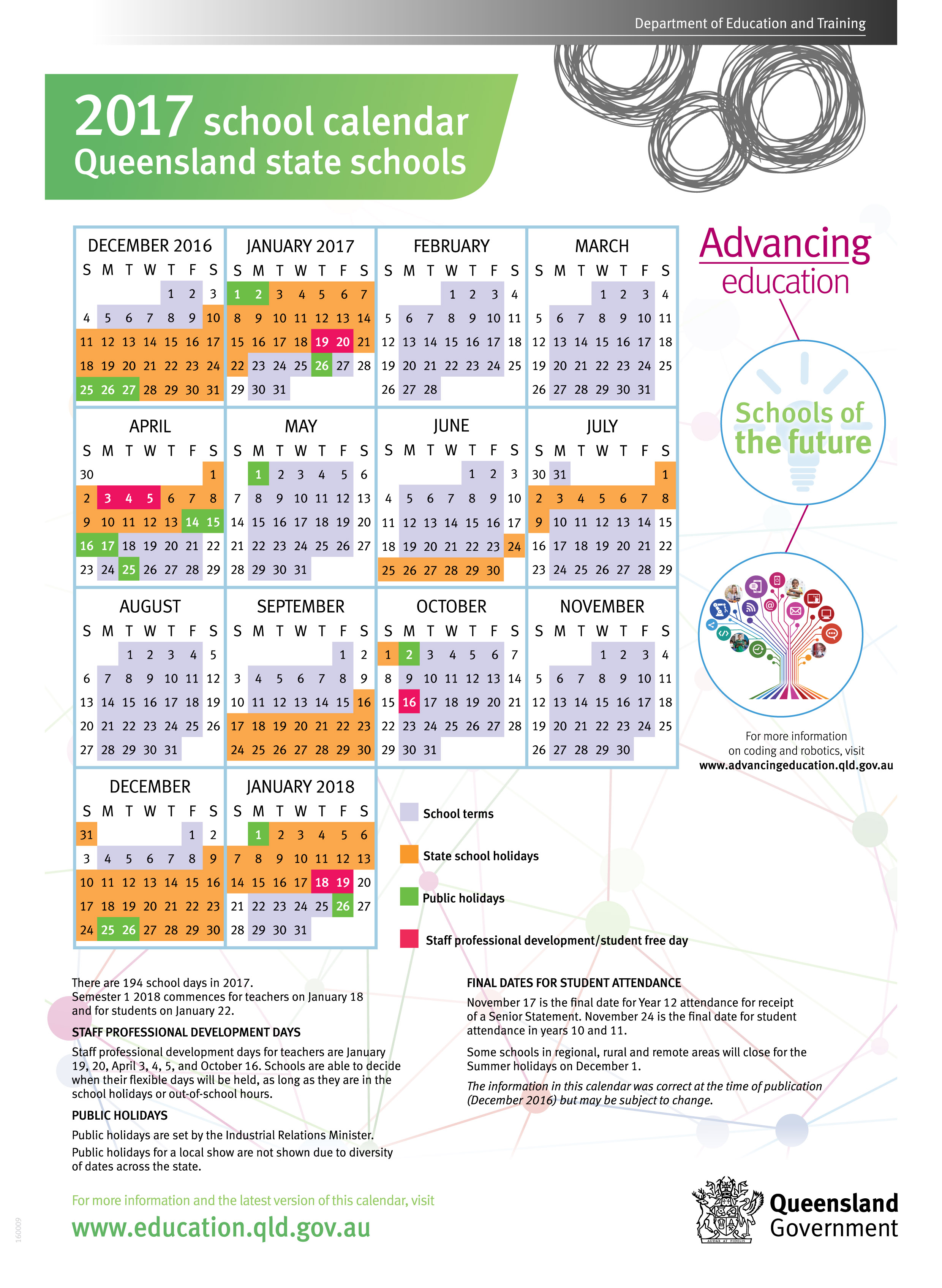 Calendar Qld : Term dates